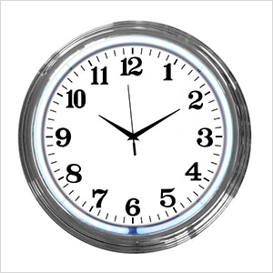15-Inch Standard White Neon Clock