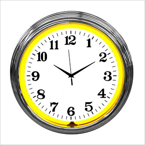 15-Inch Standard Yellow Neon Clock