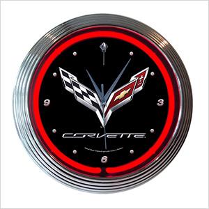 15-Inch Corvette C7 Neon Clock