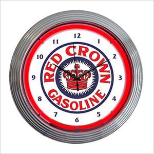 15-Inch Red Crown Gasoline Neon Clock