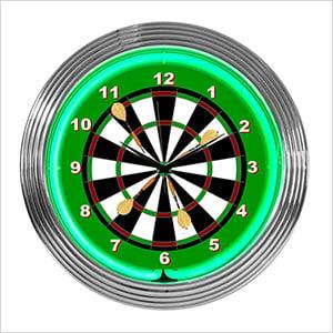 15-Inch Darts Neon Clock