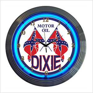 15-Inch Dixie Motor Oil Neon Clock
