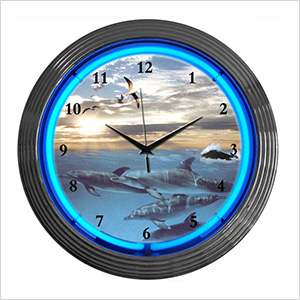 15-Inch Dolphins at Sea Neon Clock