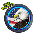 Neonetics 15-Inch Eagle With American Flag Neon Clock