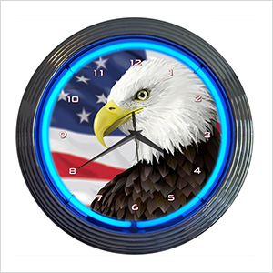 15-Inch Eagle With American Flag Neon Clock
