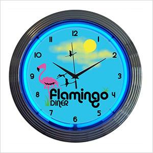 15-Inch Flamingo Diner Neon Clock