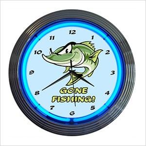 15-Inch Gone Fishing Neon Clock