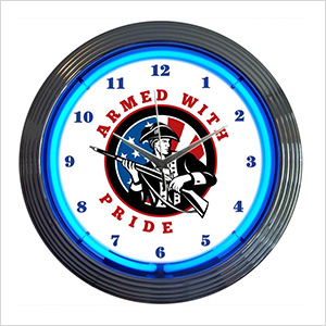 15-Inch Armed with Pride Neon Clock