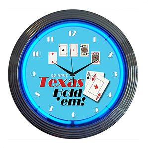 15-inch Texas Hold Em Neon Clock