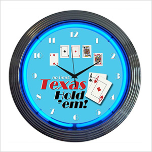 15-Inch Texas Hold Em Neon Clock