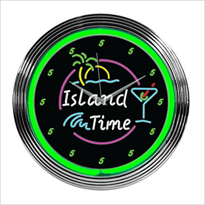 15-Inch Island Time Neon Clock