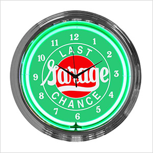 15-Inch Last Chance Garage Neon Clock