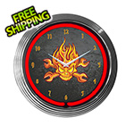 Neonetics 15-Inch Mechanic Fire Skull Neon Clock