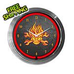 Neonetics 15-Inch Mechanic Fire Skull Neon Clock