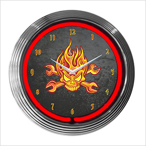 15-Inch Mechanic Fire Skull Neon Clock