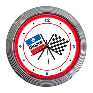 15-Inch Mopar Checkered Flag Neon Clock