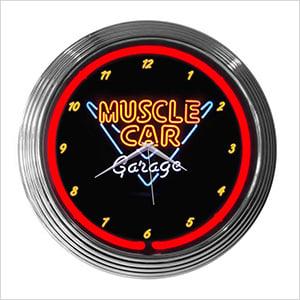 15-Inch Muscle Car Garage Neon Clock