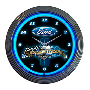 15-Inch Powered by Ford Neon Clock