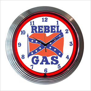15-Inch Rebel Gas Neon Clock