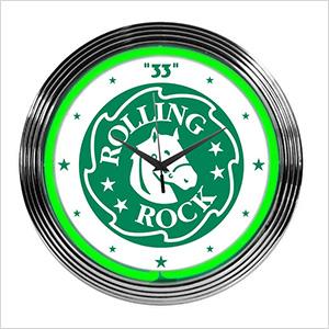 15-Inch Rolling Rock Beer Neon Clock
