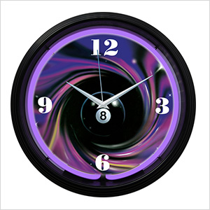 15-Inch Eight Ball Swirl Neon Clock