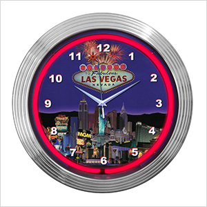 15-Inch Las Vegas Strip Neon Clock