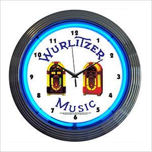 15-Inch Wurlitzer Jukebox Neon Clock