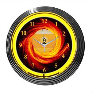 15-Inch 9 Ball Fire Neon Clock