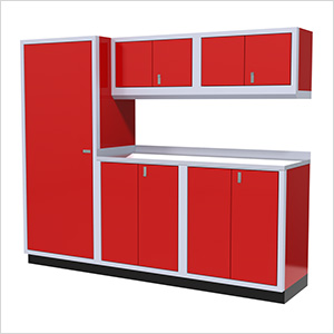 6-Piece Aluminum Garage Cabinet Set (Red)