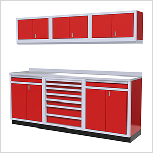 7-Piece Aluminum Garage Cabinets (Red)