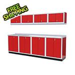 Moduline 9-Piece Aluminum Garage Cabinet Set (Red)