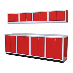 9-Piece Aluminum Garage Cabinet Set (Red)