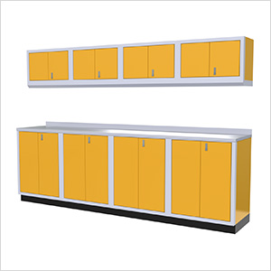 9-Piece Aluminum Garage Cabinet Set (Yellow)