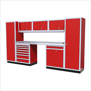 9-Piece Aluminum Garage Cabinetry (Red)