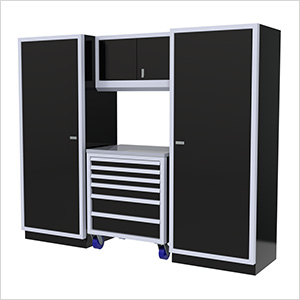 4-Piece Aluminum Garage Cabinet Set (Black)