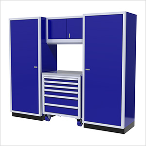 4-Piece Aluminum Garage Cabinet Set (Blue)
