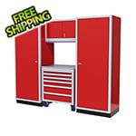 Moduline 4-Piece Aluminum Garage Cabinet Set (Red)