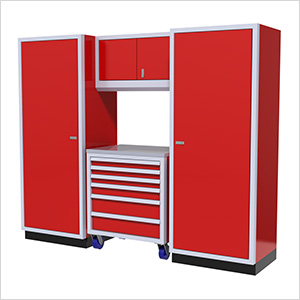 4-Piece Aluminum Garage Cabinet Set (Red)