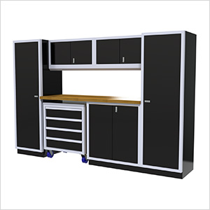 7-Piece Aluminum Garage Cabinet Set (Black)