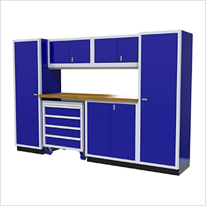7-Piece Aluminum Garage Cabinet Set (Blue)