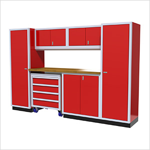 7-Piece Aluminum Garage Cabinet Set (Red)