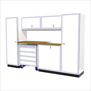7-Piece Aluminum Garage Cabinet Set (White)