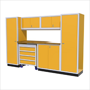 7-Piece Aluminum Garage Cabinet Set (Yellow)