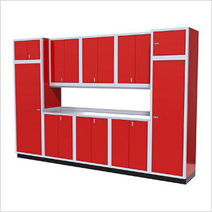 11-Piece Aluminum Garage Storage Set (Red)