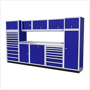 11-Piece Aluminum Garage Cabinet Set (Blue)