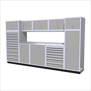 11-Piece Aluminum Garage Cabinet Set (Light Grey)