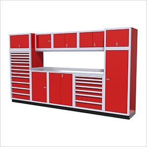 11-Piece Aluminum Garage Cabinet Set (Red)