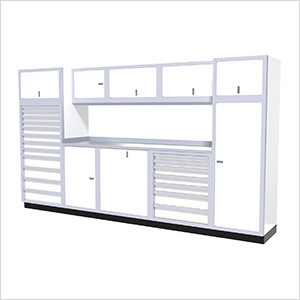 11-Piece Aluminum Garage Cabinet Set (White)