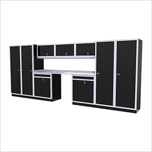 11-Piece Aluminum Garage Cabinet Set (Black)