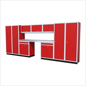 11-Piece Aluminum Garage Cabinet Set (Red)